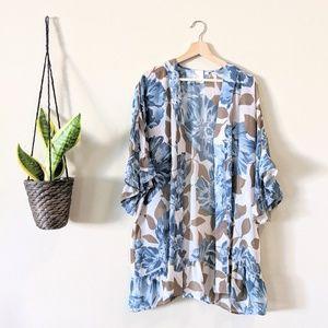 Anthropologie Eloise Floral Ruffle Sheer Kimono